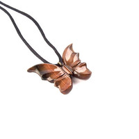 Wood Jewelry, Butterfly Pendant Necklace, Wooden Butterfly Pendant, Wood Necklace, Hand Carved Pendant, Wooden Jewelry, Wood Carved Pendant