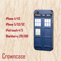 ipod 4 case,ipod 5 case,iphone 5s case,iphone 5c case,iphone 5 case,iphone 4 case,z10 case,q10 case,5s case--Tardis Doctor Who,in plastic.