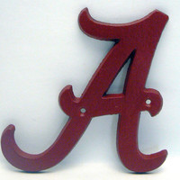Letter A Cast Iron Alabama Fan Mounting A Letter Painted Red Crimson Cursive A Wall Decor Dorm Room For College Roll Tide Fan
