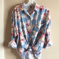 Vintage 80s Slouchy Blouse, Shabby Chic Blouse, Floral Blouse, Slouchy Shirt, 1980s Blouse, M-L