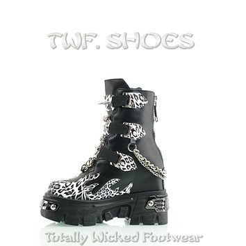 """WTF Dreamz Punk Goth 2.5"""" Platform Ankle Boots Flame Patch Chains Studs Leopard Anthony Wang"""