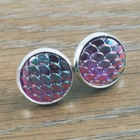 Mermaid Scales- ab titanium purple mermaid/ dragon scale earrings
