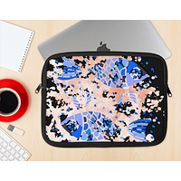 The Abstract White and Blue Fish Fossil Ink-Fuzed NeoPrene MacBook Laptop Sleeve