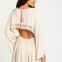Sand Crochet Crepe Bell Sleeves Dress