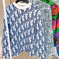 Dior CD new large size blouse tie-dye sweater ladies loose and thin round neck all-match sweater