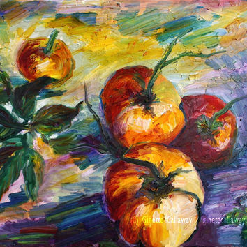 Heirloom Tomatoes Still Life Impressionist Original Oil Painting by Ginette Callaway