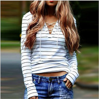 Black and White Stripe Long Sleeve Casual Lace Up Top