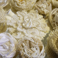 """52 Handmade Fabric Flowers for weddings, bouquet making, wedding decor, scrapbooking, gifts, crafts """"READY TO SHIP"""""""