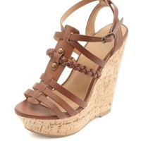BRAIDED STRAPPY PLATFORM WEDGE SANDALS