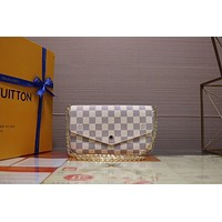 LV Louis Vuitton  DAMIER AZUR CANVAS POCHETTE FELICIE INCLINED SHOULDER BAG