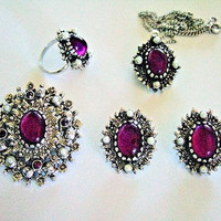 Sarah Coventry Collectible Catherine Full 5 Piece Parure, Pendant, Dual Brooch Pendant, Earrings, Finger Ring Set, 1973 , Designer Vintage