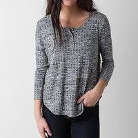 Women's Marled Henley Top in Grey by Daytrip.