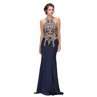 CLEARANCE - Navy Blue Embroidered Mermaid Long Prom Dress Racer Back (Size Small)