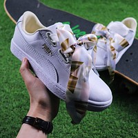 Puma Suede Heart Trainer Shoes White Gold Casual Shoes Low-Top Sneakers