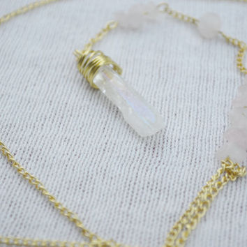Rosary Style Lariat Gold and Pink Wire Wrapped Crystal Pendant Necklace