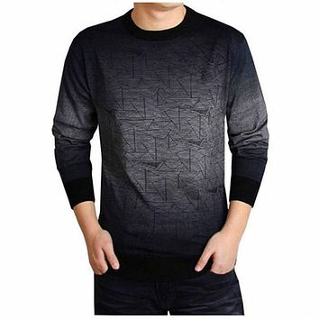 Cashmere Sweater Men Clothing Mens Sweaters Print Casual Shirt Autumn Wool Pullover Men O-Neck Pull Homme Top