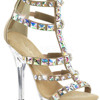 Taupe Jeweled T-Strap Sandal With 5 Inch Heel
