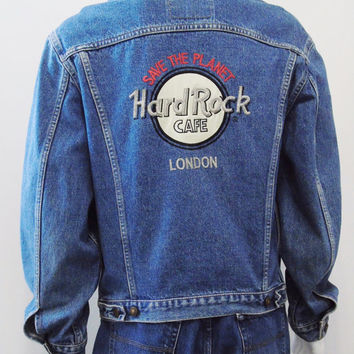 Hard Rock Cafe London Levis Red Tab Vintage Dated 1989 Denim Jean Jacket Save The Planet Mens Size M Collectors Jacket