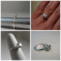 2 Carat 8mm OMC Old Mine Cut Cubic Zirconia Sterling Silver Solitaire Engagement Promise Ring Faux Diamond Simulant Sizes 3-9