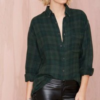 After Party Vintage Tried And True Flannel - Forest Green