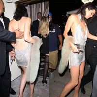 Sexy Backless Sequined Mini Dress Kendall Jenner 21st Party Dress V Metal Halter Hollow Out Sleeveless Tight Package Hips Dress