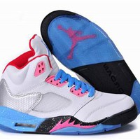 Hot Nike Air Jordan 5 Women Shoes Miami Vice White Blue Pink