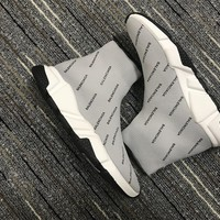 Balenciaga Speed Grey Trainers With Black Logo Print - Best Online Sale