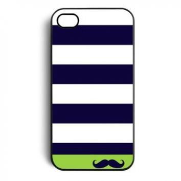 Navy Sailor Mustache Snap On Case Cover for Apple iPhone 4 iPhone 4s