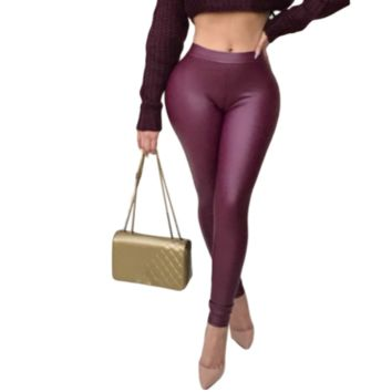 Women Faux Leather High Waist Casual Tights