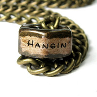 Hangin' With Nutsy, Antique Brass, Industrial Chic, Hex Nut Necklace, Metal Jewelry, For Men, Hardware, Geometric, Steampunk, Funny