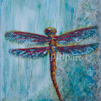 Original painting Turquoise background red dragonfly rich textured acrylic on canvas
