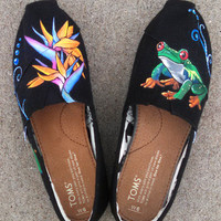 Hand Painted Shoes Black Canvas Custom TOMS Tropical Rainforest New Wearable Art Customized Shoes Custom Kicks Personal Clothing Gift Idea