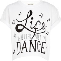 Girls white life is better with dance t-shirt