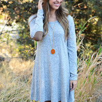 Light Blue Long Sleeve Knit Backles Dress