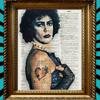 Rocky Horror Picture Show Tim Curry Dr. Frank-N-Furter cult classic awesome upcycled vintage dictionary paper book page art print 8x10