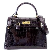 Hermes Kelly 25 Sellier Bag Crocodile Prunoir Gold Hardware