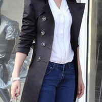 Long Sleeve Double Breasted Black Trench Coat