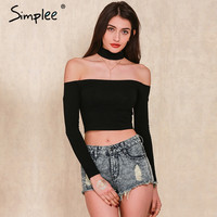 Simplee European style sexy off shoulder black t-shirt women tops long sleeve halter top tees Girl t shirt 90's crop top female