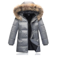 Winter 2016 Outwear Parka Down Coats For Kids Boys New Design Fashion Fur Collar Hooded Warm Jacket Casual Padded Cotton Clothes