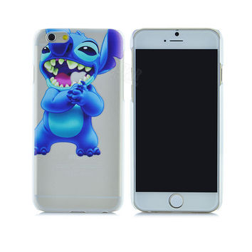 """Cute Blue Lilo & Stitch Cartoon Painted Semi-Transparent Phone Back Case Shell Cover for Apple iPhone 6 6s 4.7"""""""