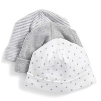 Infant Nordstrom Baby Cotton Hats - Grey (3-Pack)