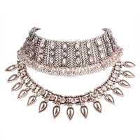 Silver Crystal Statement Choker Necklace