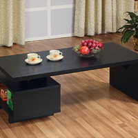 Modern Coffee Table With Open Cabinet Rectangular Living Room Decor Black Finish
