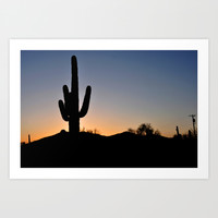 Saguaro Cactus and sunset Art Print by Greenelent