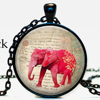 Red Elephant Necklace pendant, Handwriting script, elephant silhouette, elephant altered art, elephant jewelry, elephant charm
