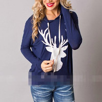 T Shirts Christmas Tee Long Sleeve Casual Loose  Cute Deer Printed Hooded Shirts Pullover Tops Plus Size