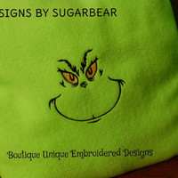 GRINCH PiLLOWS READY to SHIP NoW!! EMBROiDERED  BEAUTiIFUL QUALiITY 16X16 Designs by Sugarbear BOUTiQUE UNiQUE YeaR RoUND USe FuN & BRiGHT!