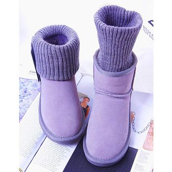 UGG fashionable casual women's boots to help the ground sell solid color wool mouth snow boots