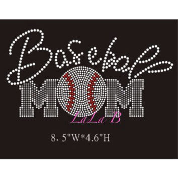 Baseball Mom- Rhinestone Hot Fix Iron on Bling Transfer - DIY hotfix design appliqué for shirts t-shirts tees custom motif blue