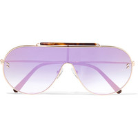 Stella McCartney - Oversized aviator-style gold-tone and tortoiseshell acetate mirrored sunglasses